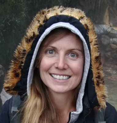 Photograph of the author Beth Pitts on a rainy day.
