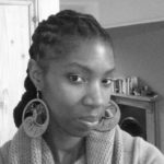 A black and white portrait of the writer Zakia Carpenter-Hall.