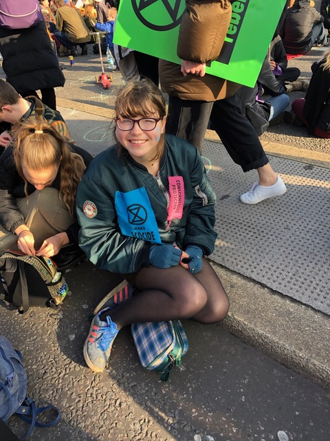 Blue Sandford at an Extinction Rebellion demonstration.