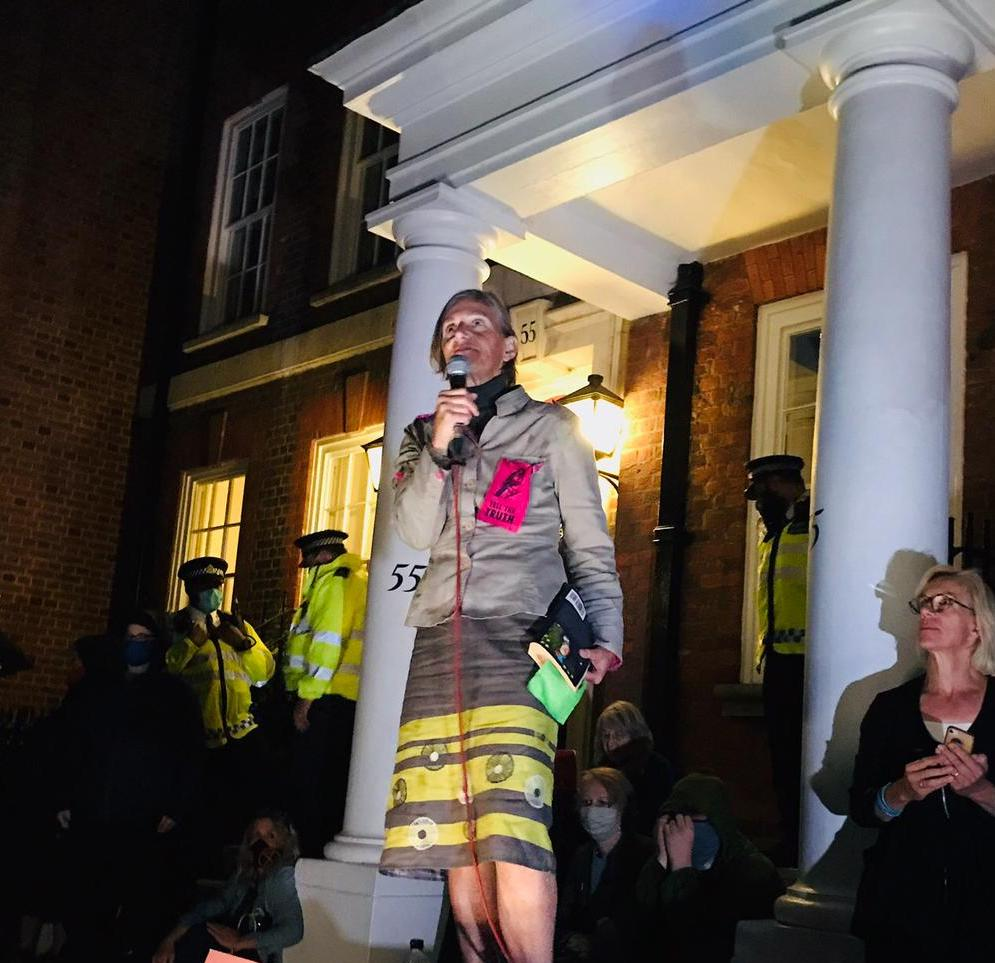 Charlotte Du Cann speaking outside 55 Tufton Street.